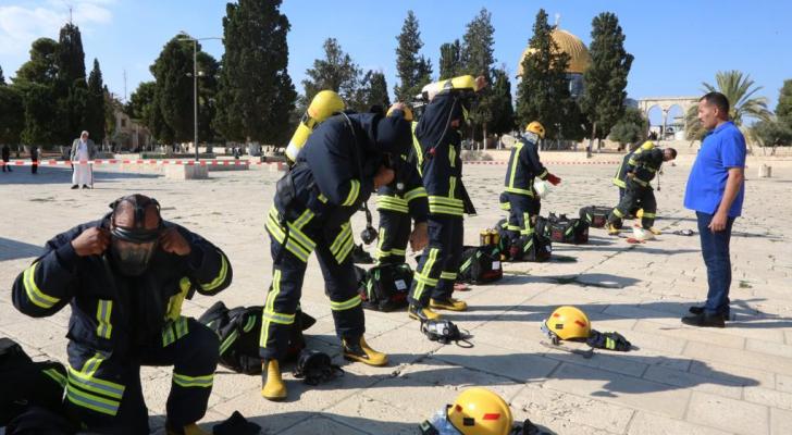 الدفاع المدني الأردني يدرب طواقم إطفاء المسجد الأقصى في القدس المحتلة