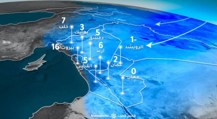 بداية الموجةالباردة مع رياح شرقية نشطة تتجاوز سرعة هباتها 70كم / ساعة