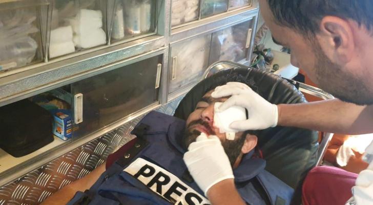 الصحفي الفلسطيني المصاب معاذ عمارنة