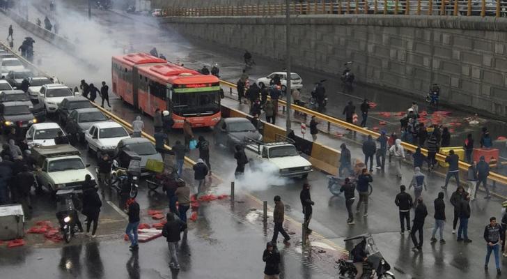 الصورة من احتجاجات ايران