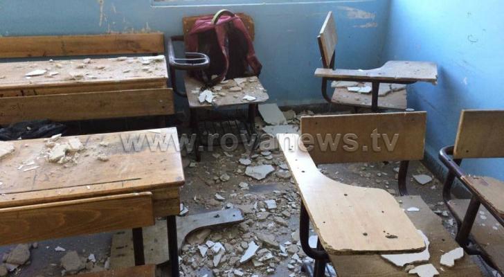 اصابة طالب مدرسة بانهيار جزء من سقف غرفة صفية باربد