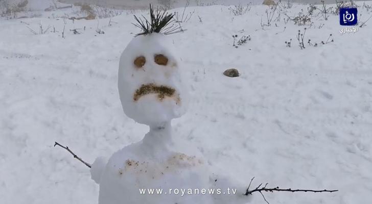 رجل الثلج الأردني في الطفيلة الاربعاء