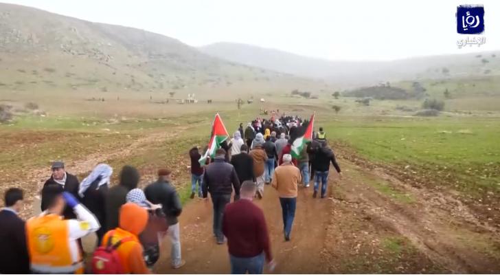 مظاهرة في الأغوار الشمالية بالضفة الغربية تنديدا بصفقة القرن