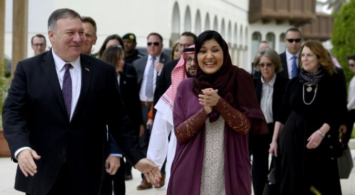 وزير الخارجية الأمريكي مارك بومبيو والسفيرة السعودية في واشنطن ريما بنت بندر