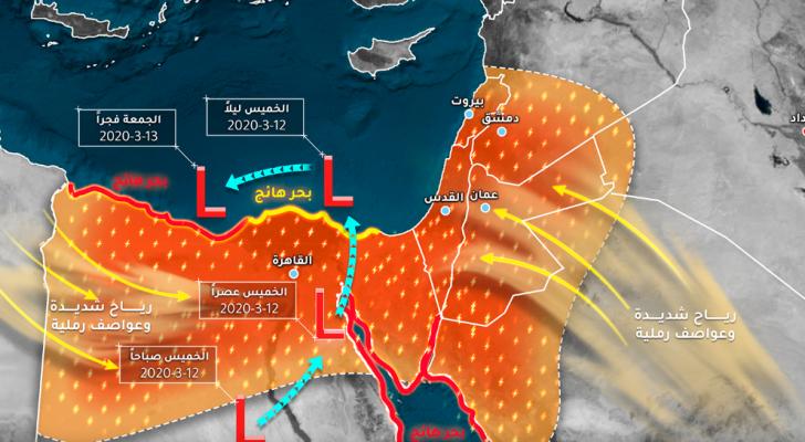 طقس العرب يرفع تصنيف المنخفض الجوي إلى الدرجة العاصفة