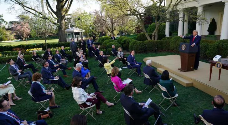 ترمب خلال مؤتمر صحفي في حديقة الورود في البيت الأبيض - ا ف ب