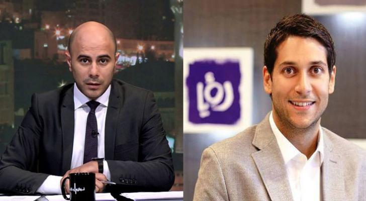 مدير عام قناة رؤيا المهندس فارس الصايغ ومدير الأخبار محمد الخالدي