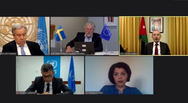 خلال اجتماع تقني مع الأمين العام للأمم المتحدة والمفوض العام لوكالة الأونروا ووزير التعاون الدولي السويدي