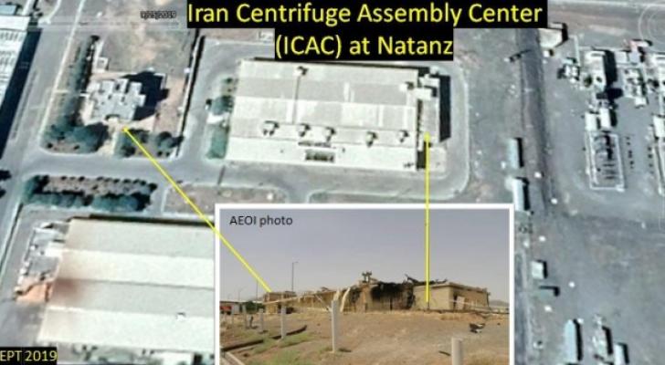 صور نشرها معهد أمريكي حول موقع الهجمات بمفاعل نطنز النووي الإيراني