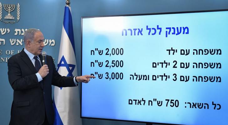 نتنياهو يوزع 6 مليار شيقل لجميع قاطني كيان الاحتلال لمساعدتهم في ظل كورونا