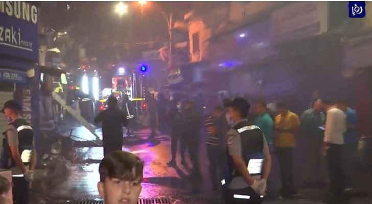 حريق كبير لمحلات تجارية بوسط البلد في عمان - فيديو